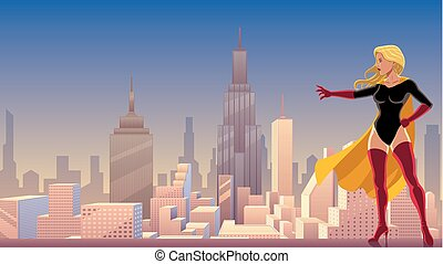 superheroine, potere, in, città