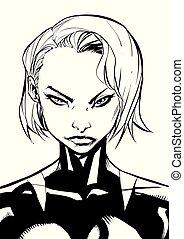 superheroine, ritratto, art linea