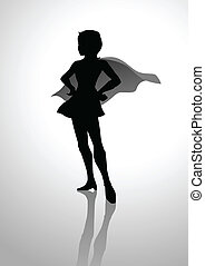 Silhouette of a female figure in superhero suit