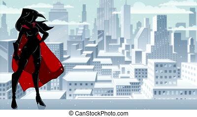 Superheroine Standing Tall Winter Silhouette - Seamless ...
