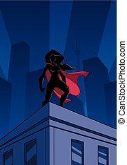 superheroine, techo, reloj, silueta