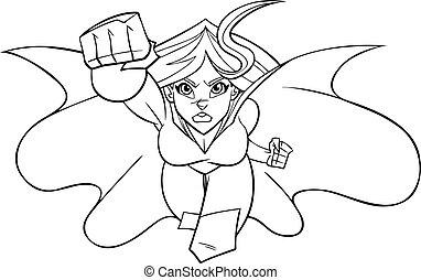 superheroine, venuta, a, lei, art linea