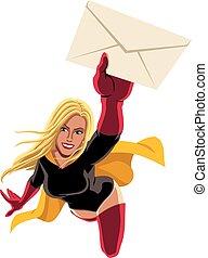 superheroine, volare, busta