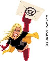 superheroine, volare, posta elettronica
