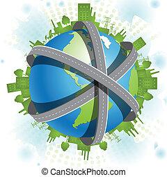 superhighways - Illustration, blue globe in network of the...