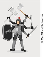 Superhuman Knight Warrior Cartoon Vector Illustration