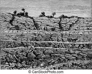 Superimposed layers of rocks, vintage engraving.
