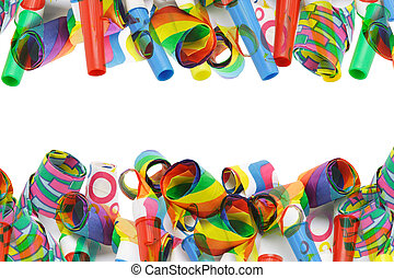Superimposed Party Blowers Border On White