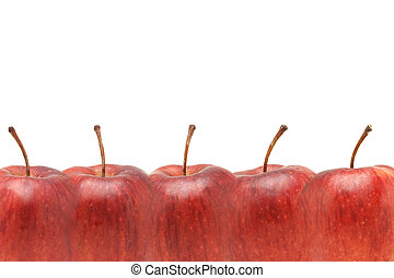 Superimposed Red apples border with copy space on white background
