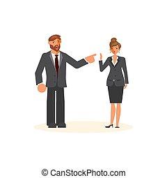 Superior and subordinate professional relationship concept....