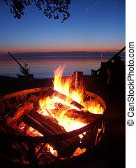 superior de lago, playa, campfire