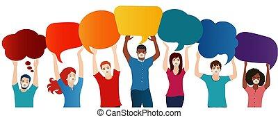 superior, grupo, discurso, customize., vacío, infección, ...
