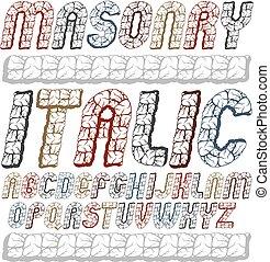 superior, jogo, letras, isolated., arredondado, logotipo, texture., design., uso, antiga, alfabeto, fonte, itálico, typescript, arrojado, usando, alvenaria, fresco, caso, criado, vetorial, inglês