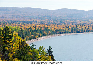 Superior Lake in fall time, Ontario, Canada