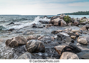 Superior lake - Surf at rocky promontory in Superior Lake ...
