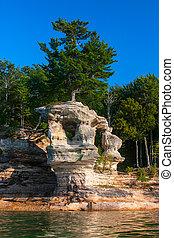 superior, nacional, costa lago, rocha, pedras, imaginado, capela
