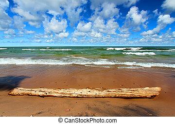 superior, praia, lago, ondas
