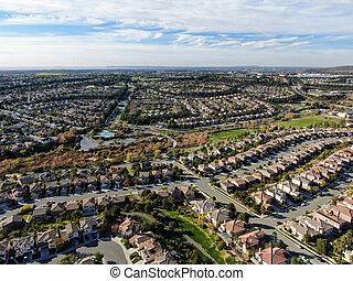 superior, subdivisão, vista, vizinhança, residencial, classe, idêntico, meio, casa, aéreo