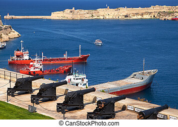 superior,  Valletta,  barrakka, batería, Jardines, puerto,  malta, magnífico, saludar, vista
