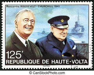 superiore, churchill, 1941, burkina, francobollo, circa,...