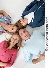superiore, famiglia, pavimento, persone, posa, 4, vista