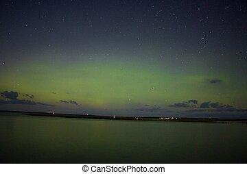 superiore, nord, settentrionale, aurora, lago, minnesota, luci, riva, sopra