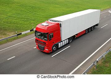 superiore, vista, di, rosso, camion, con, bianco, roulotte,...