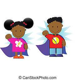 superkids - a set of african american boy and girl faces ...