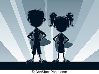Superkids Silhouettes - Boy and girl superheroes, posing in...