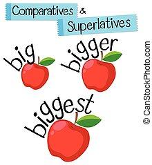 superlatives, mot, comparatives, grand, anglaise, grammaire