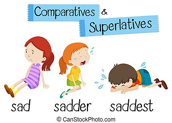 superlatives, mot, comparatives, triste, anglaise, grammaire