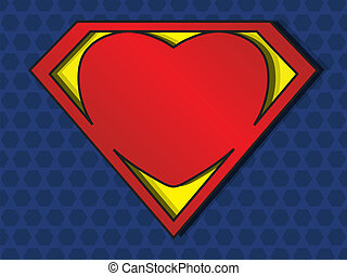 Superlove - a big red heart shaped like a superhero shield,...