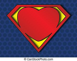 Superlove - a big red heart shaped like a superhero shield, ...