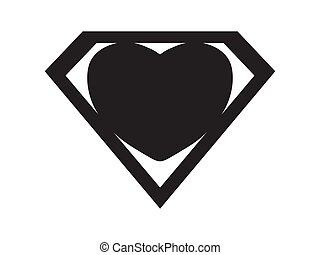 a big black heart shaped like a superhero shield, symbol for strong love