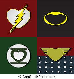 Superlove heroes - Superhero shields shaped like hearts,...