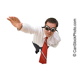 Superman businessman flying - Businessman flying blind -...