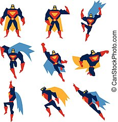 Superman Poses Set Vector Illustration - Super hero in...