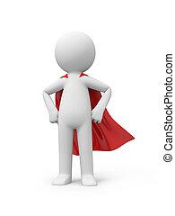 superman - 3d superman, superhero standing in red cloak