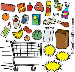 supermarché, articles