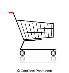 supermarché, conception, ton, charrette