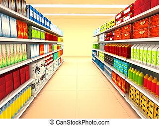 Supermarket. 3d rendered image