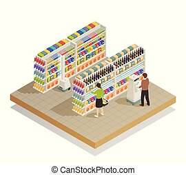 Supermarket Automated Technologies Isometric Composition