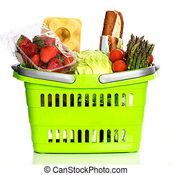 Supermarket basket full with grocery products