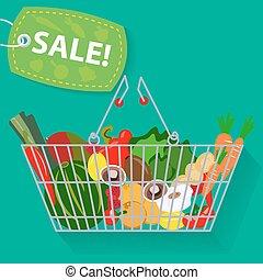 Supermarket basket of vegetables sale vector