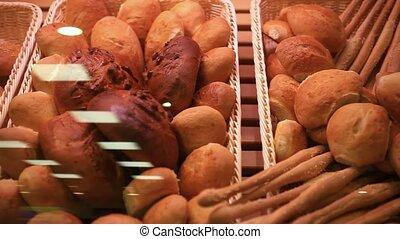 Supermarket. Bread showcase. Close up. HD. 1920x1080