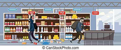 Supermarket broken. Robbery concept. Crime scene vandalism, looting, looters with crowbar and bag, criminal characters, thrown goods on floor. Vector illustration flat cartoon design isolated