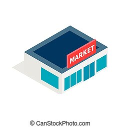 Supermarket building icon, isometric 3d style