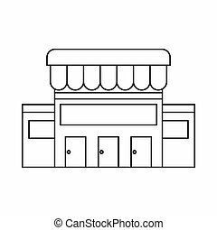 Supermarket building icon, outline style