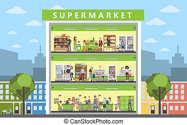 Supermarket building interior. - Supermarket building...