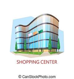 Supermarket building, shopping center. Modern mall - Mall...